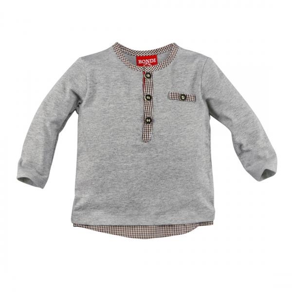 Kinder T-Shirt Westerngrund Gipfelkraxler grau melange mit Knopfleiste Langarm Bondi