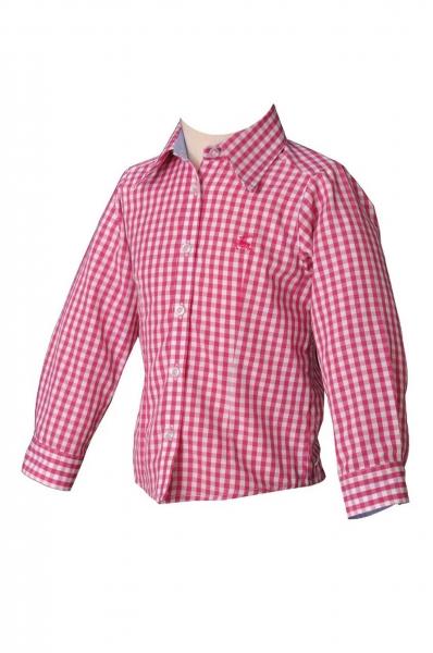 Kindertrachtenbluse Florentine pink himbeere karo langarm OS-Trachten