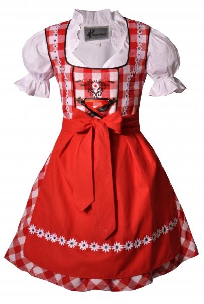 Kinderdirndl Dürrwangen rot/weiß Set 3-tlg. BayerMadl