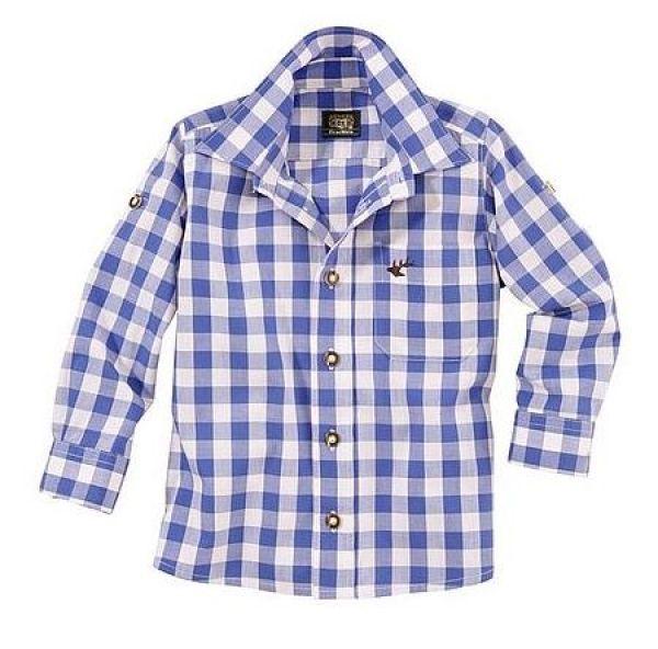 B-Ware / 2. Wahl - Kinder Trachtenhemd Dominik blau Krempelarm OS-Trachten