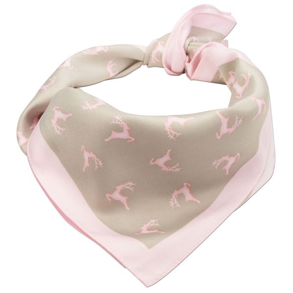 Trachten-Nickituch Springende Hirsche rosa braun Alpenflüstern