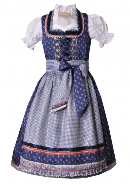 Kinder- und Teeniedirndl blau floral Set 3-tlg. Krüger