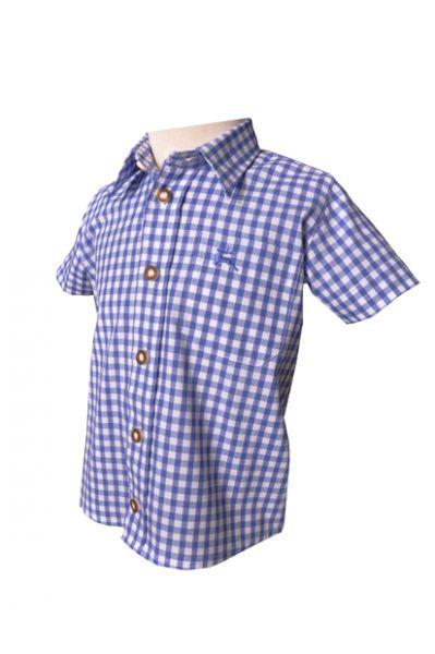Kinder Trachtenhemd Ronny blau kurzarm OS-Tachten