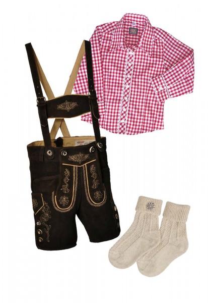 Kinder Trachtenlederhosen-Set 4-tlg. kurz dunkelbraun von Lekra mit roter Bluse von OS Trachten