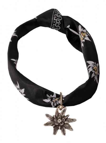 Trachtentuch schwarz mit Edelweißanhänger