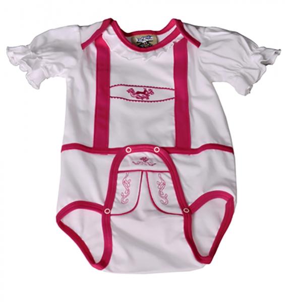 Baby Trachtenbody Elina weiß/pink Isar Trachten