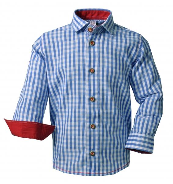 Kinder Trachtenhemd Buttenwiesen blau Karo Langarm OS Trachten