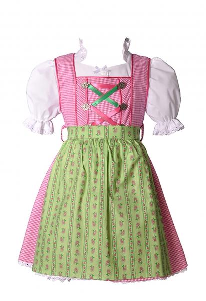 Kinderdirndl Mina pink/grün 3-tlg. Trachtenset Coala