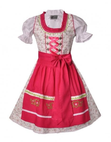 Mädchendirndl Teeniedirndl im Set 3-tlg. - Geblümtes Trachtenkleid creme mit Schürze pink und Bluse weiß von Bayer Madl