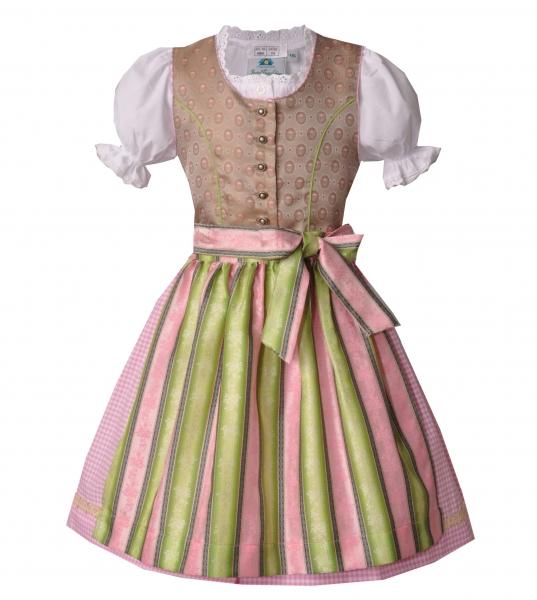 Kinderdirndl Teeniedirndl beige/rosa/grün Set 3tlg. Isar-Trachten