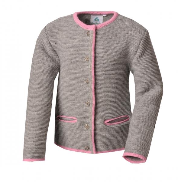 Kinder Trachten Strickjacke Untertresenfeld grau hellgrau / rosa Isar Trachten