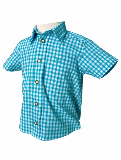 Kinder Trachtenhemd Ronny türkis kurzarm OS-Trachten