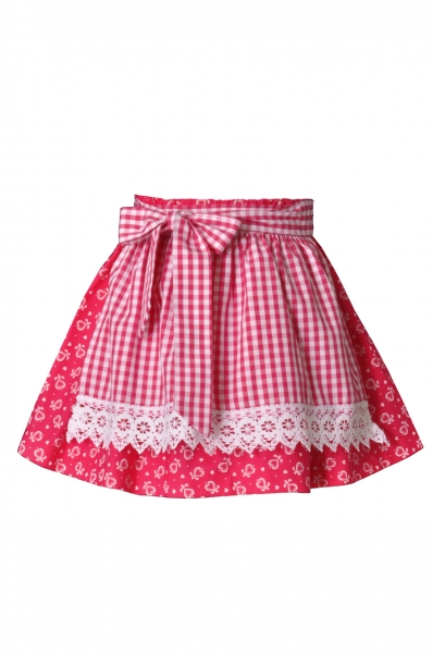 Kinder Trachtenrock Emskirchen pink/weiß Isar Trachten