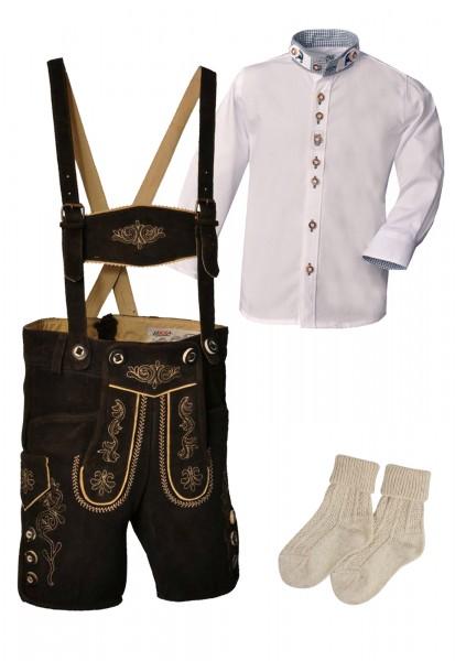 Kinder Trachtenlederhosen-Set 4-tlg. kurz dunkelbraun von Lekra mit weißem Hemd von OS Trachten